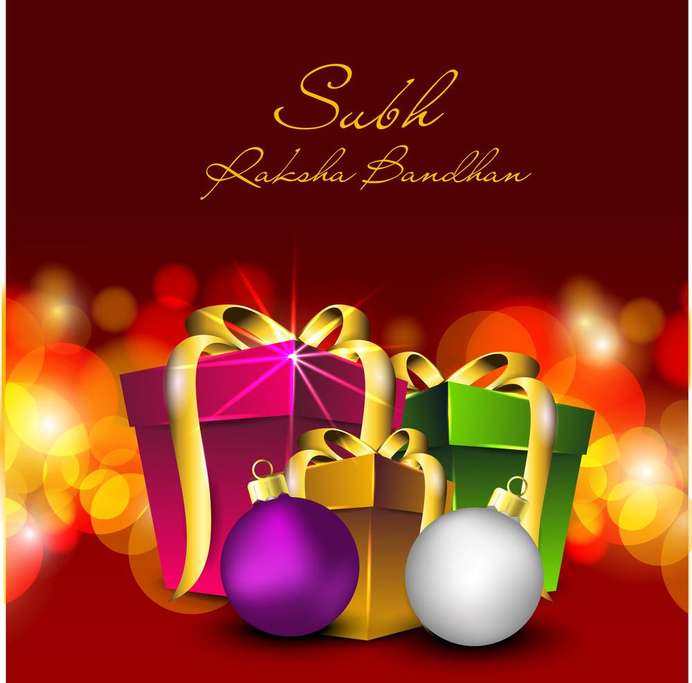 Illustration Of Gift Boxes With Golden Ribbon For Raksha Bandhan Celebration.