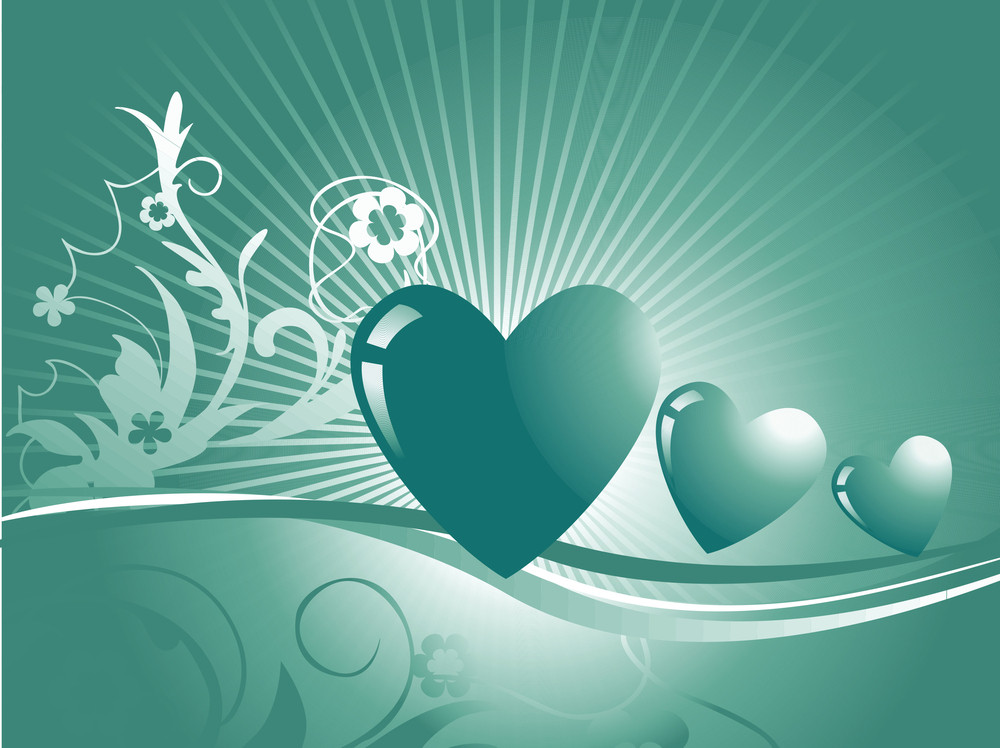 Illustration Of Green Abstract Love Background With Three Hearts