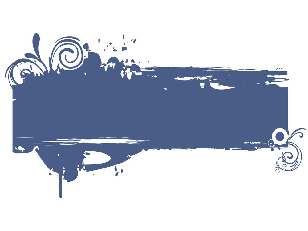 Illustration Of Grungy Blue Floral Frame