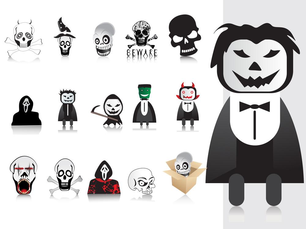 Illustration Of Halloween Icons Set