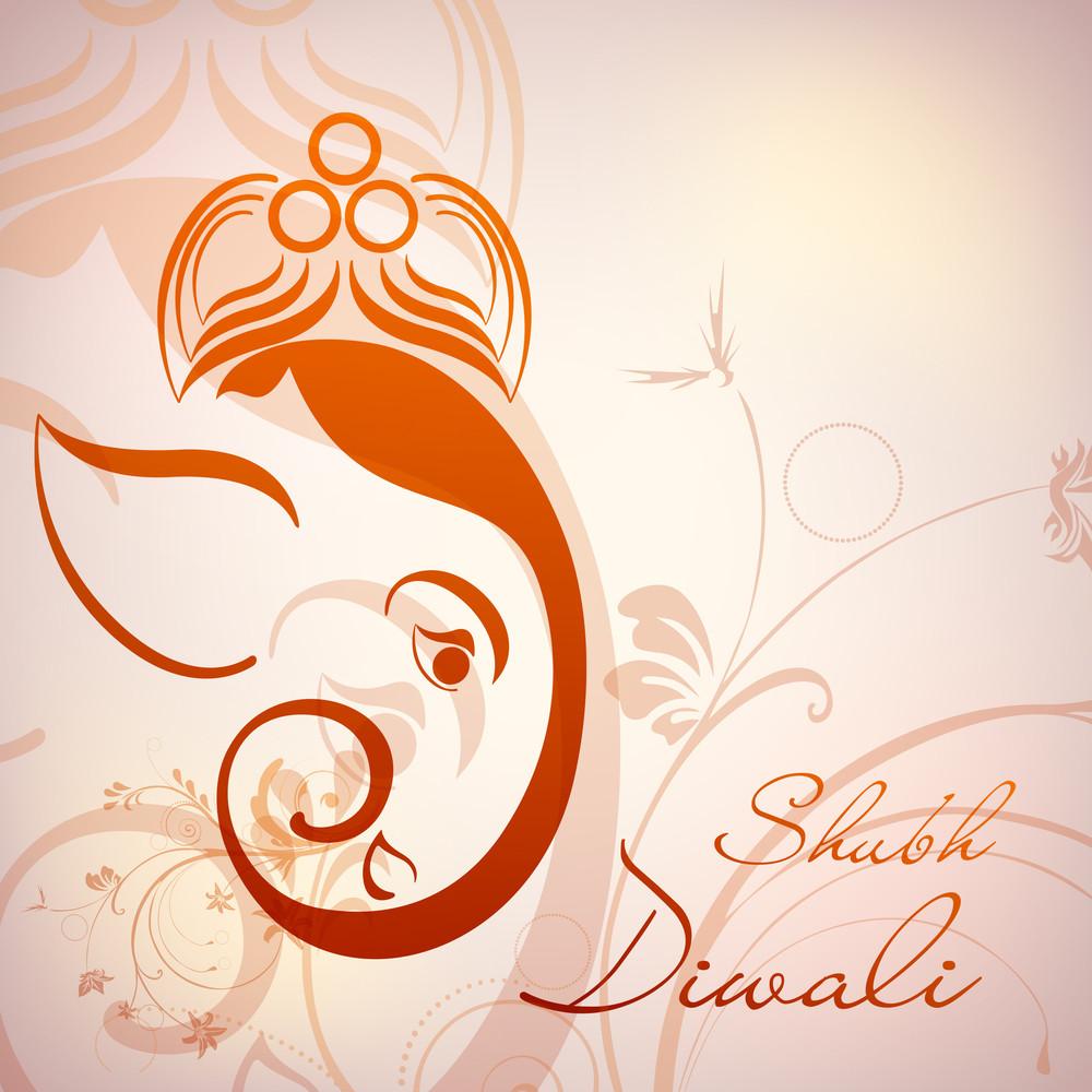 Illustration Of Hindu Lord Ganesha With Floral Decorative Artwork.
