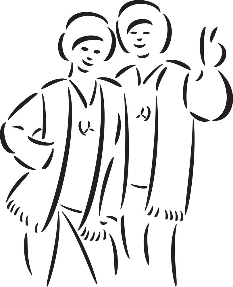 Illustration Of Hippie Couple.