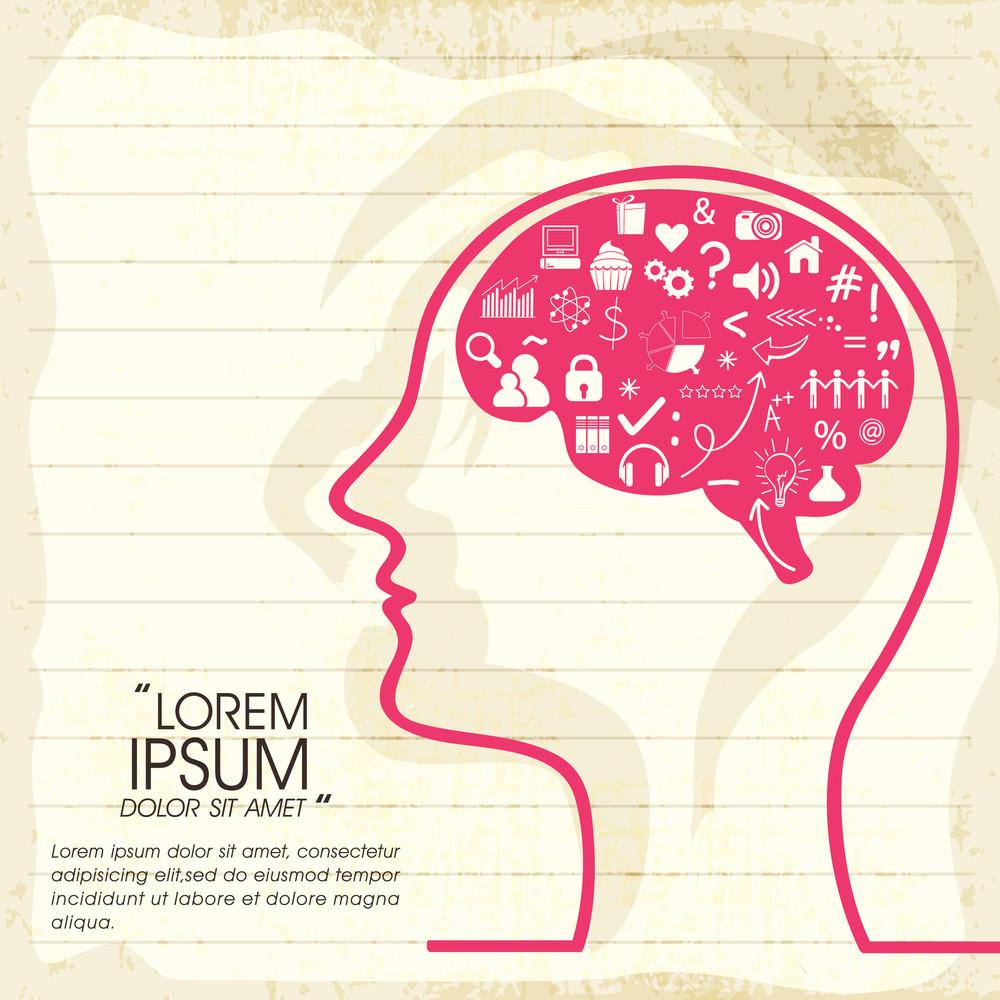 Illustration des menschlichen Gehirns denken über verschiedene Dinge auf Notebook-Papier Hintergrund.