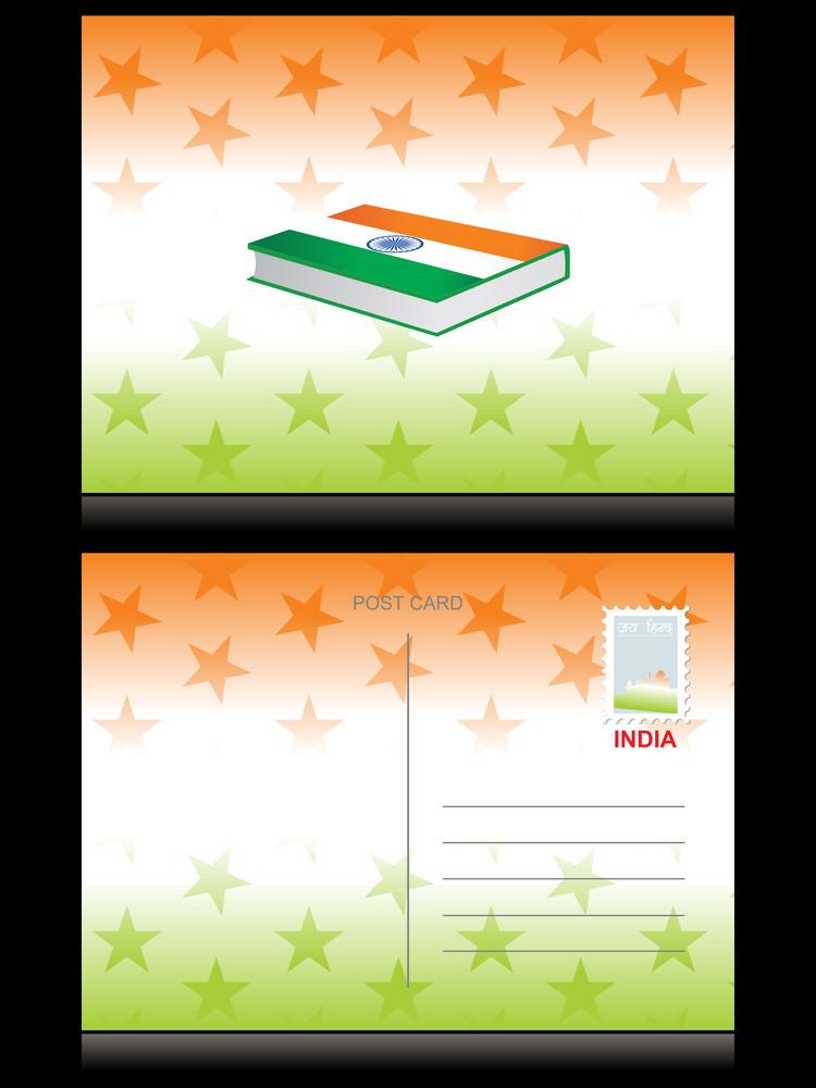 Illustration Of Indian Flag Postcard