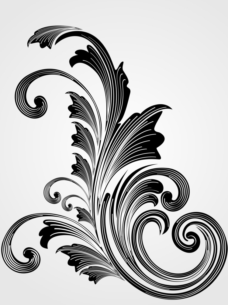 Illustration Of Isolated Black Floral