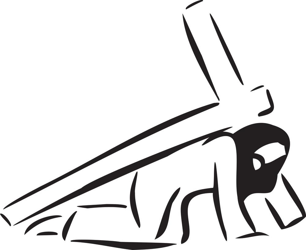 Illustration Of Jesus Christ With Cross.