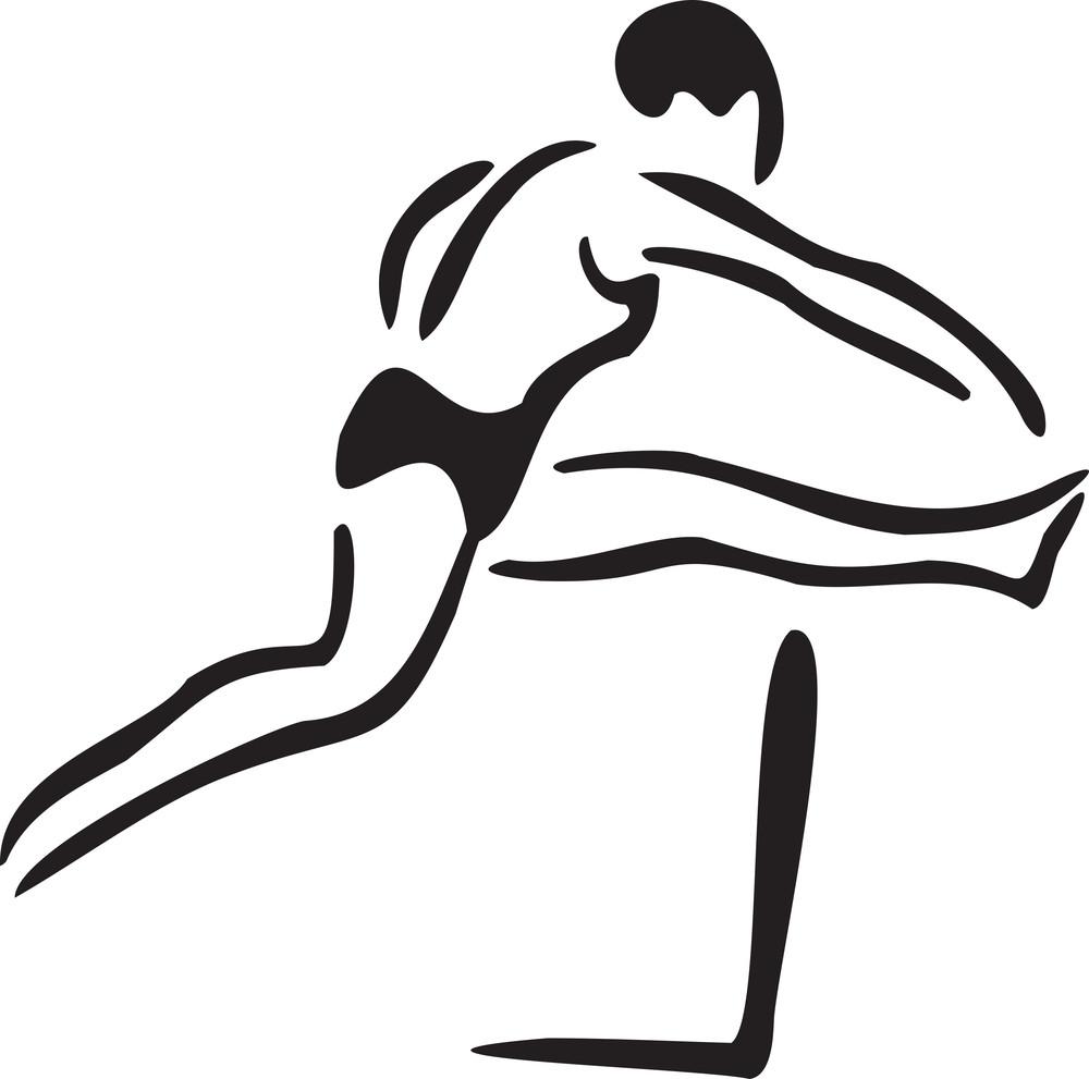 Illustration Of Jumping Gumnastic Man.