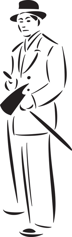 Illustration Of Mafia Man With A Weapon.
