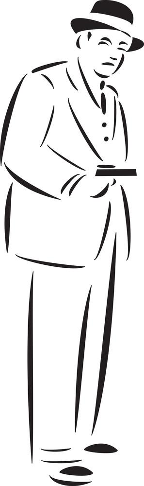 Illustration Of Mafia Man With Revolver.