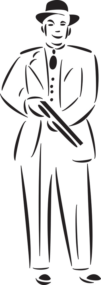 Illustration Of Mafia Man With Rifle.
