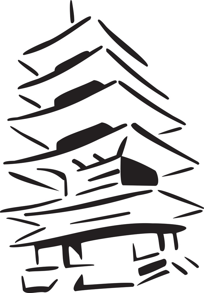Illustration Of Pagoda Of Japan.