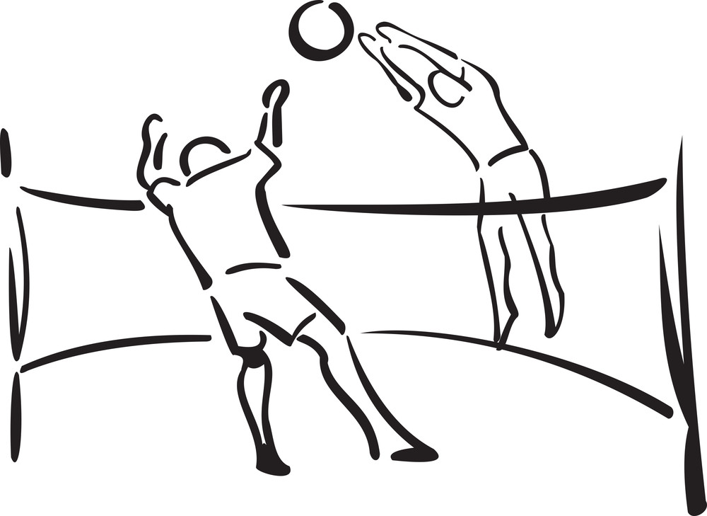 Illustration Of Players Playing Volleyball.