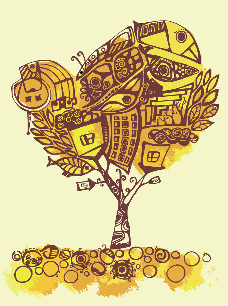 Illustration Of Psychedelic Stylized Tree