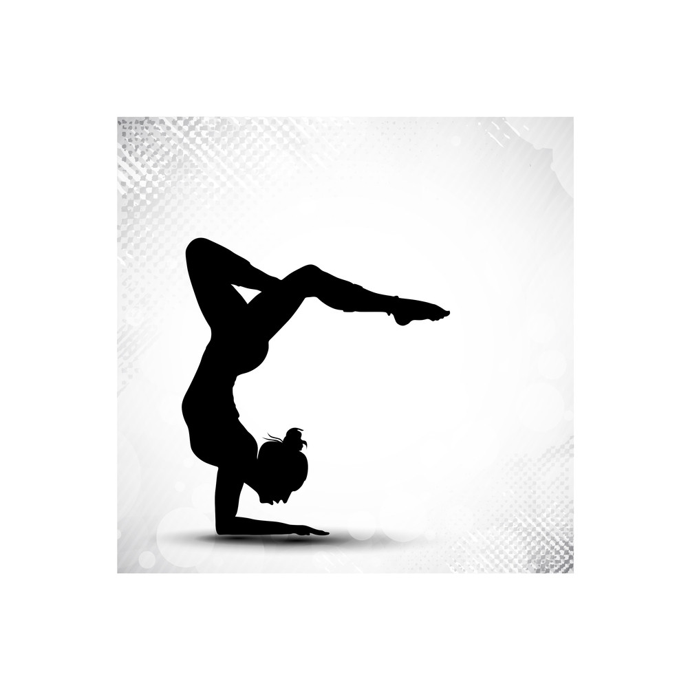 Illustration Of Rhythmic Gymnastic Girl On Grungy Abstract Background In Grey Color. Eps10.