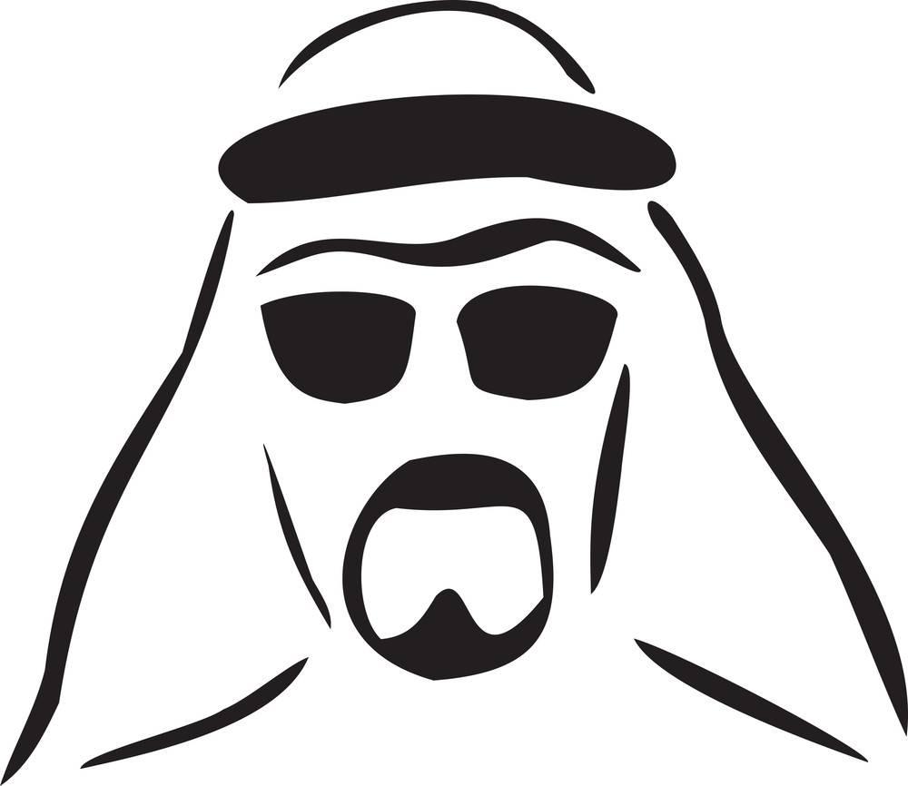 Illustration Of The Face Of Arabian Sheikh.