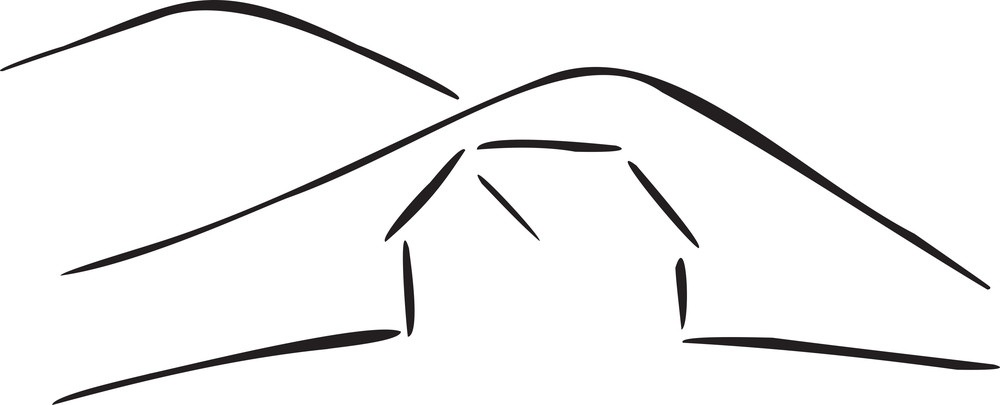 Illustration Of The Mountain With Small House.