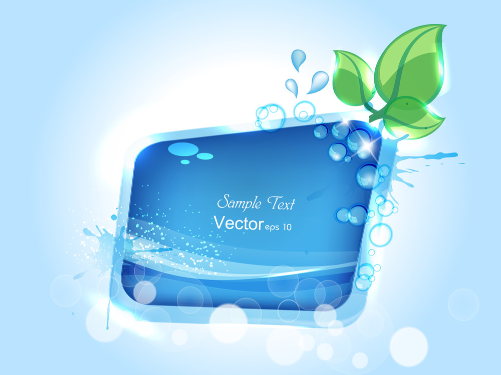 Illustration Of Water Splash With Space For Your Text.
