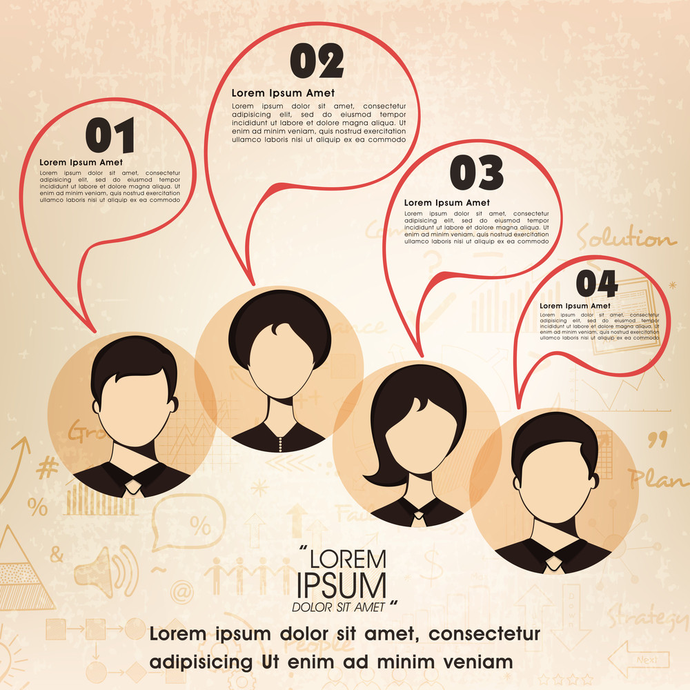 Illustration of young business people with speech bubble for professional reports and presentation.