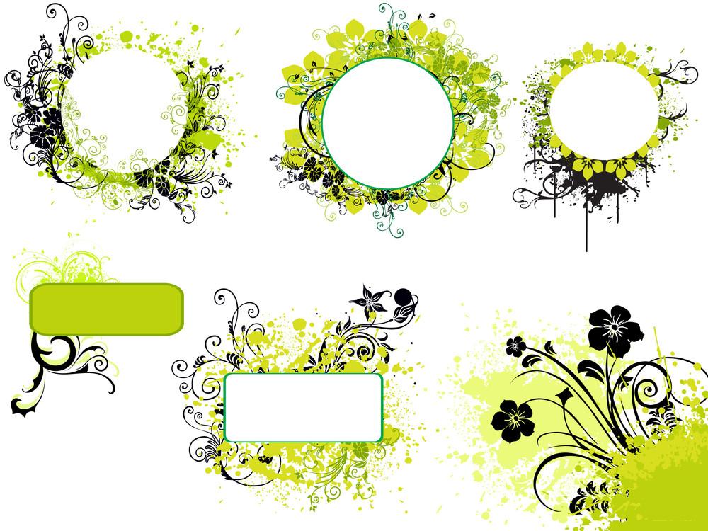 Illustration Set Of Grungy Floral Frame