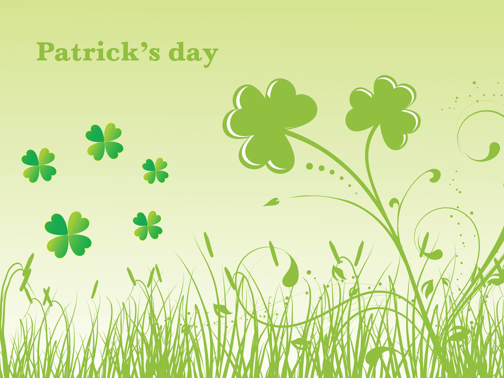 Illustration Shamrock With Grass Vector 17 March