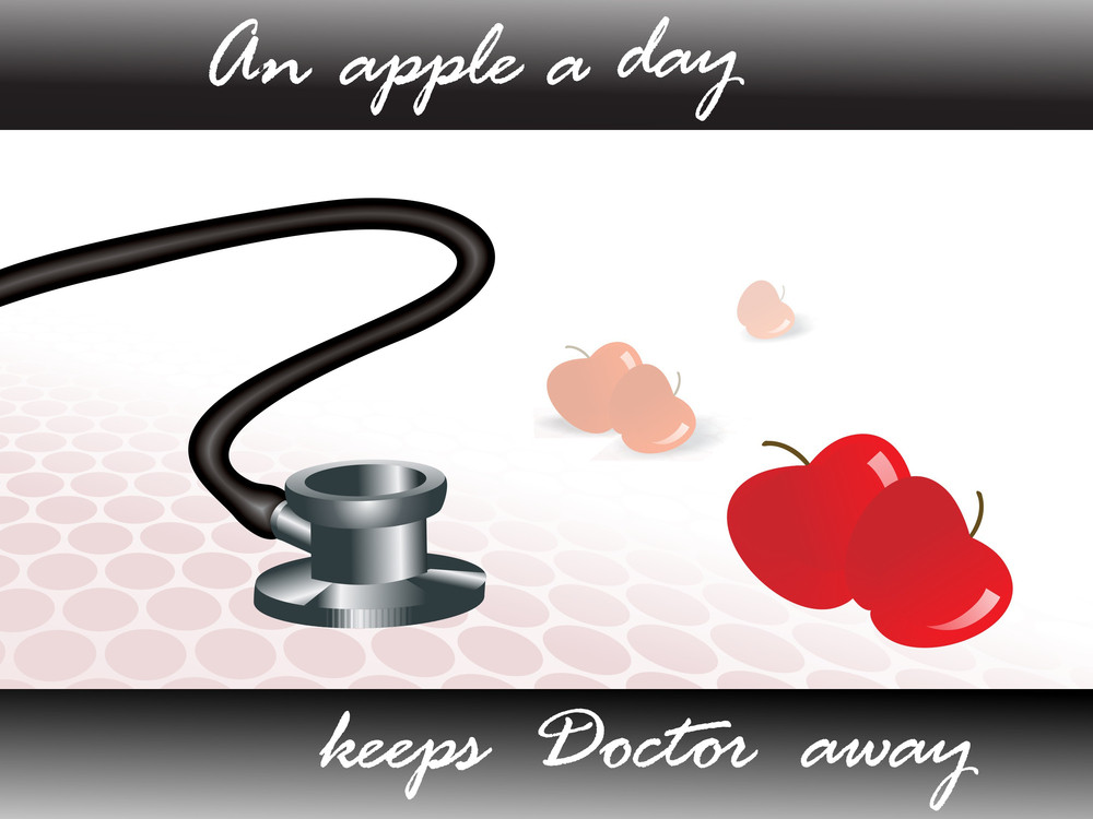 Illustration Stethoscope And Apple