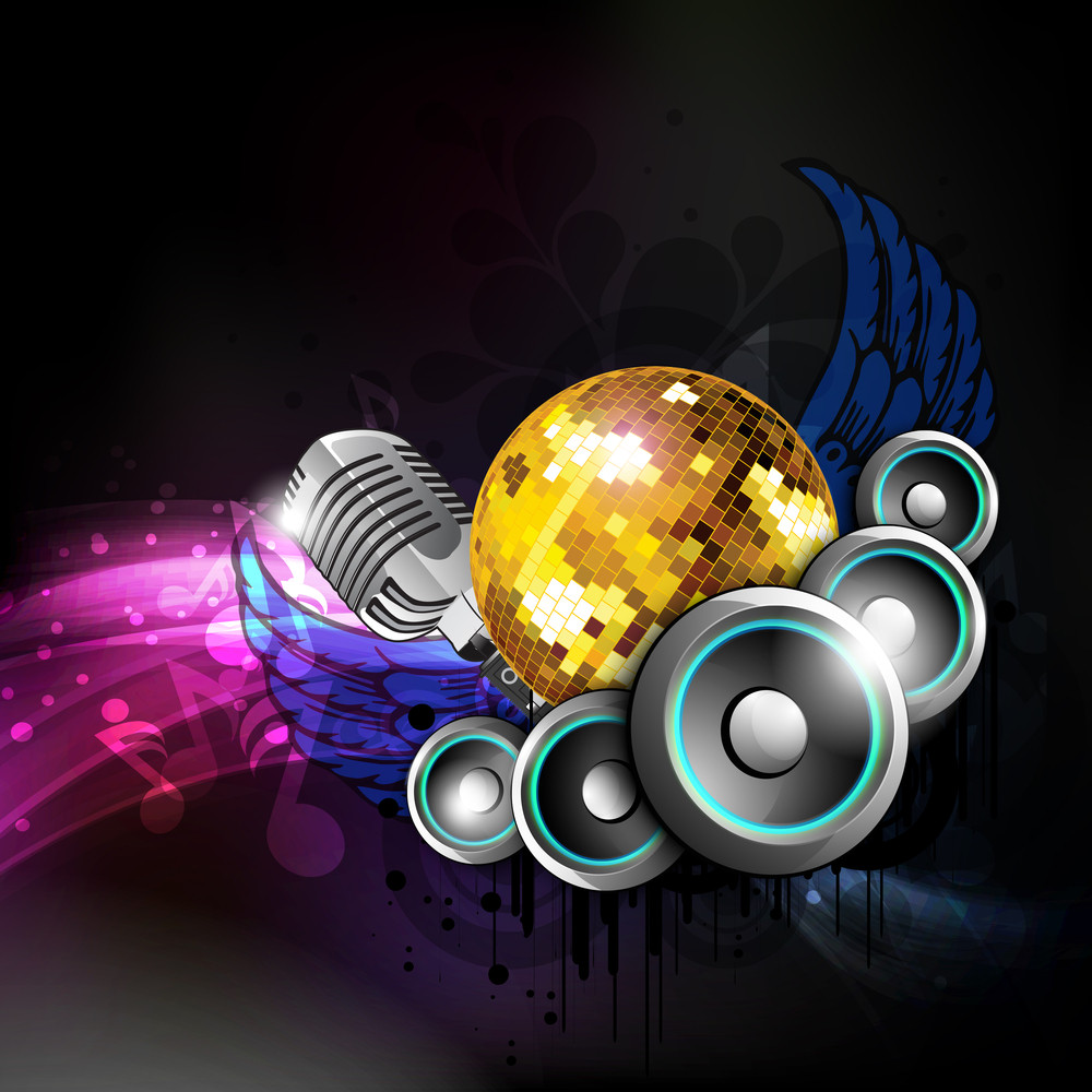 Ilustration On A Musical Theme Colorful Lights Background With Speaker And Wing.
