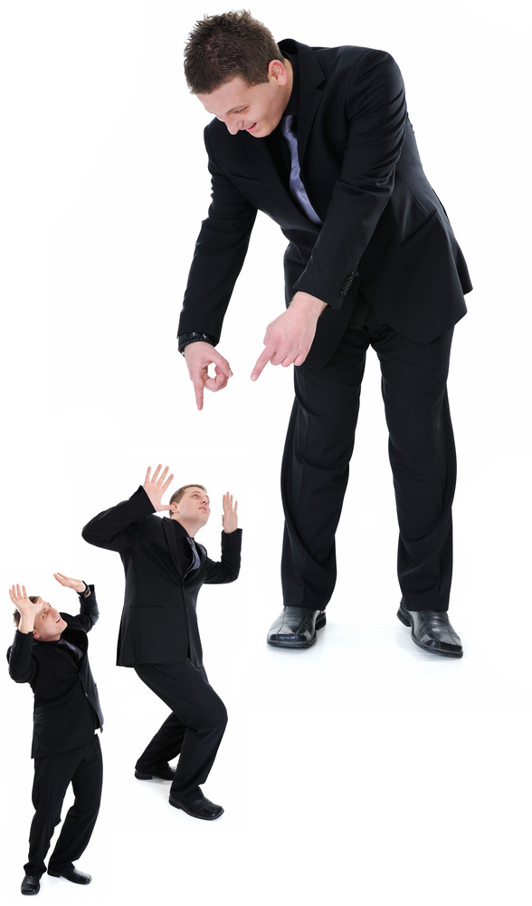 Image of a business people in different poses and emotions, boss on top