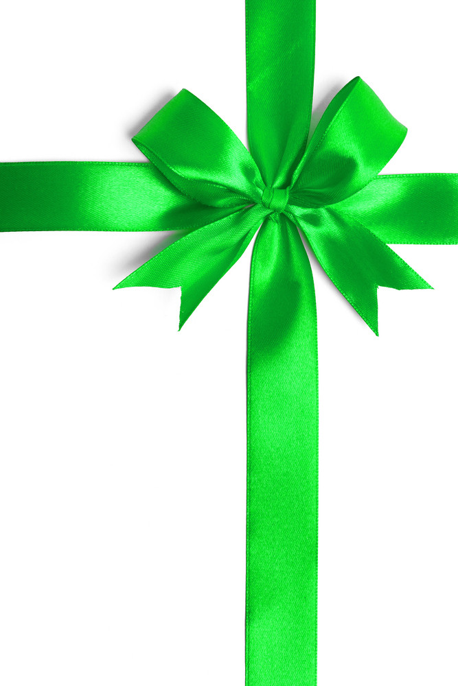 Green ribbon isolated on white background