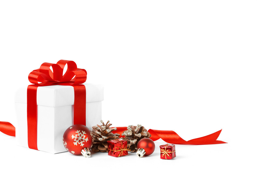 Colorful red gifts with ornamental