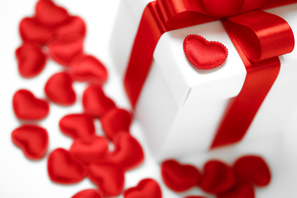 Gifts boxes with textile hearts