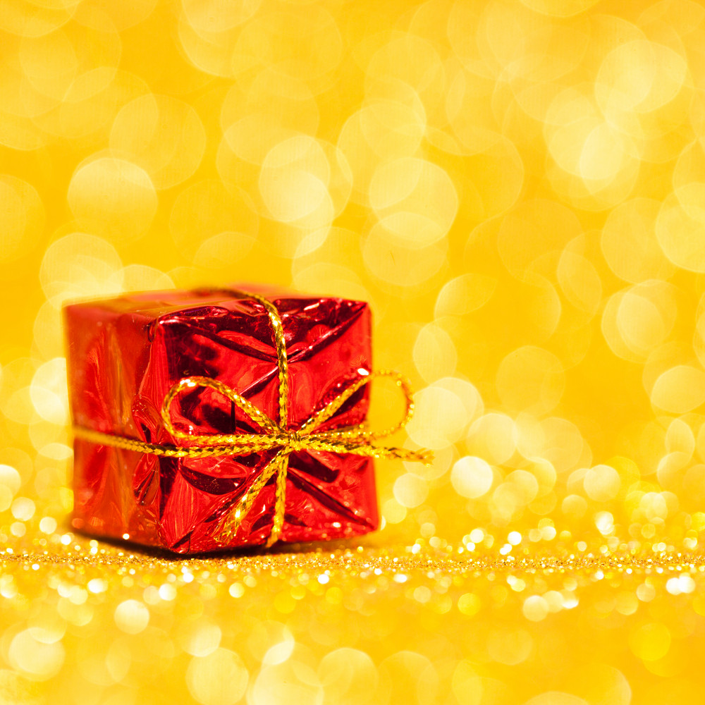 Red decorative box with holiday gift
