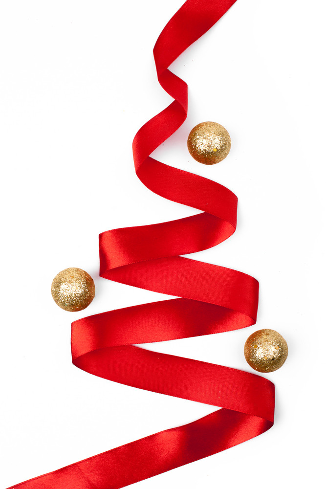ribbon christmas tree isolated royalty free stock image