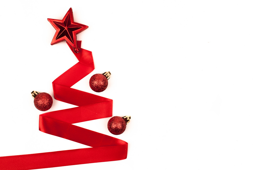 Christmas tree from ribbon background
