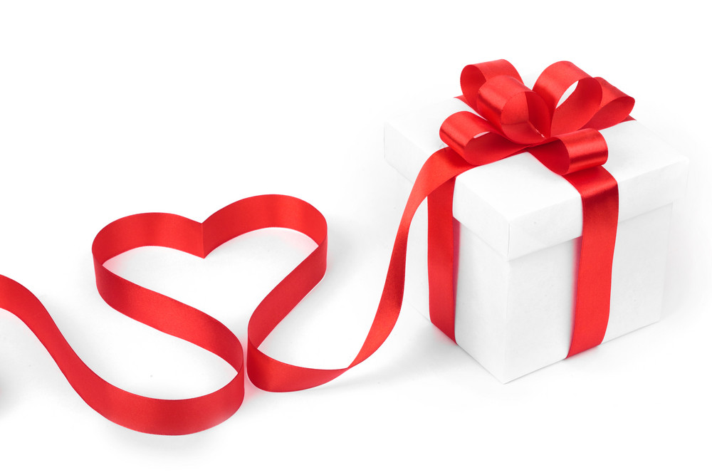 Stylized valentine heart made from red bow