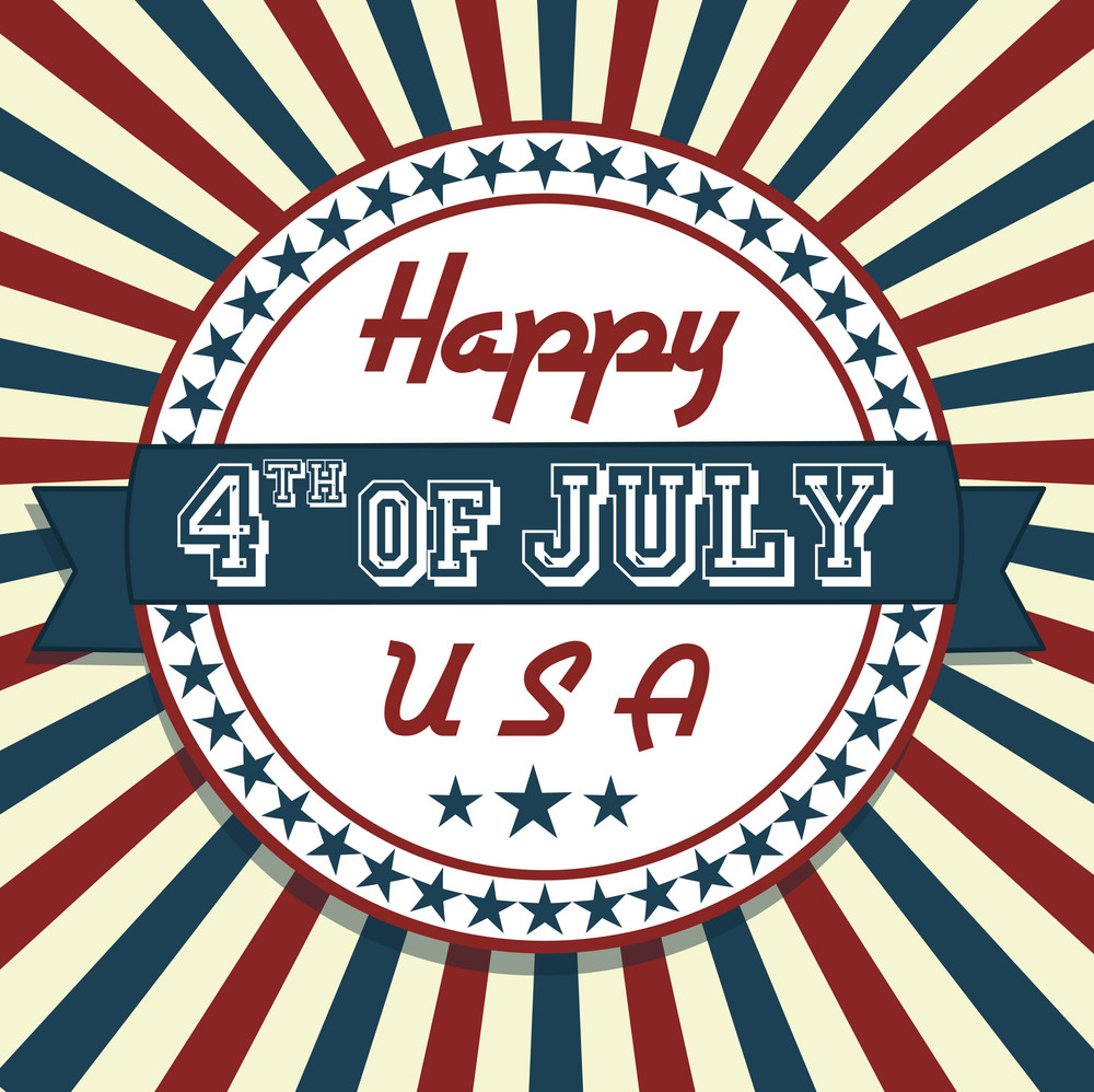 Independence Day Greeting Card In Vintage Style