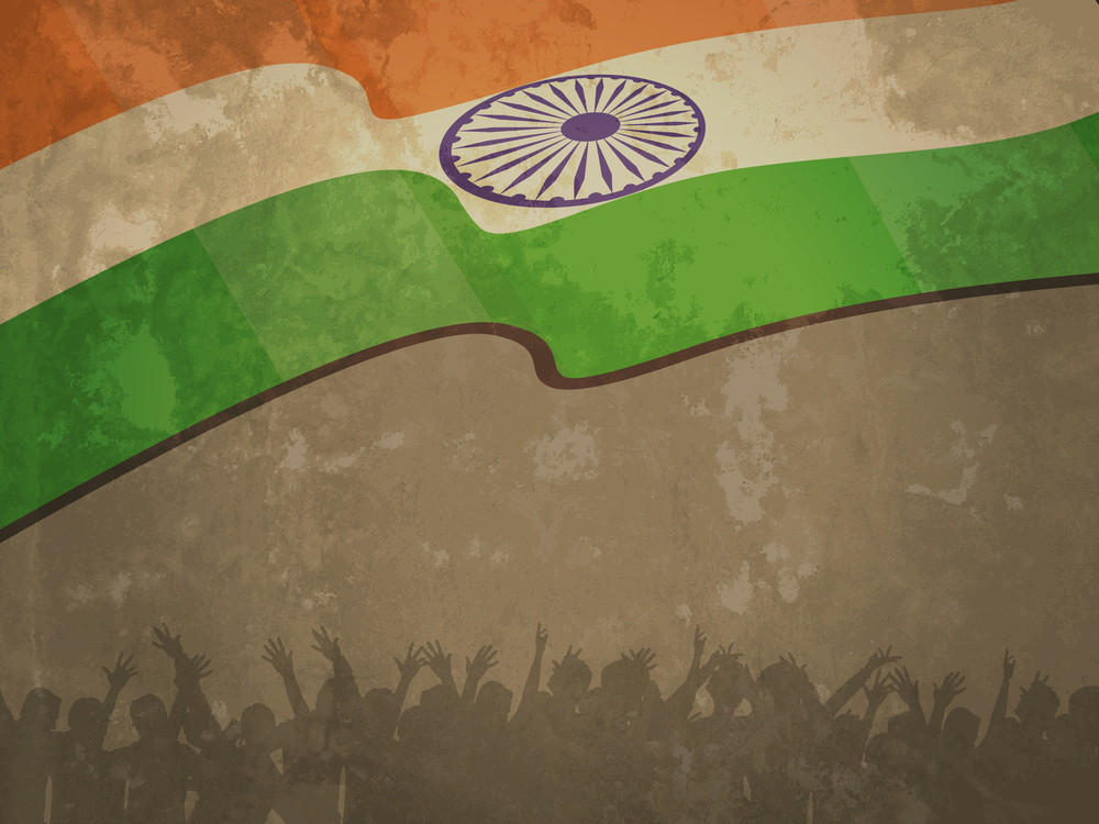 India Flag On Old Textured Paper Background With Flag And Silhouettes Of People. Vector Illustration Eps10.