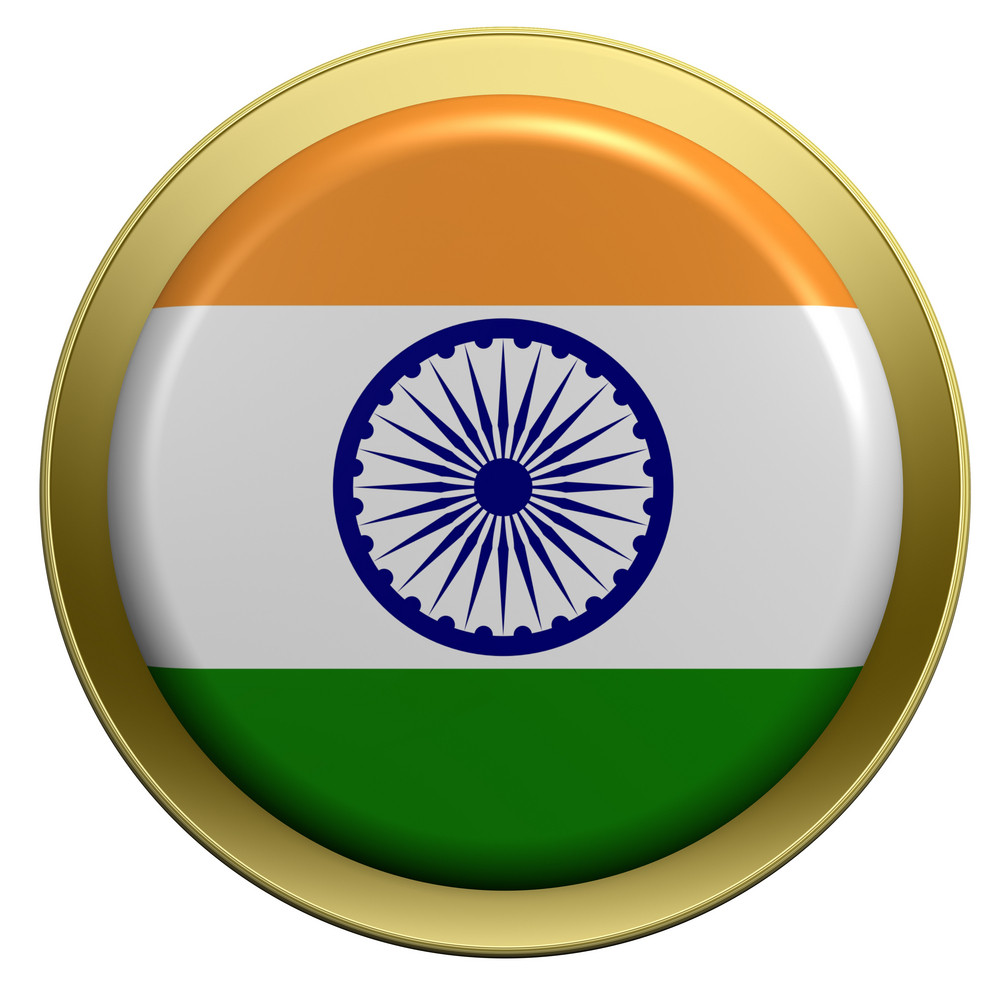 India Flag On The Round Button Isolated On White.