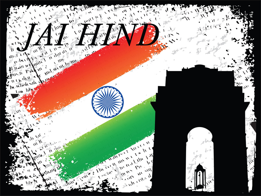 India Gate Shadow In New Delhi With Flag Grunge Vector