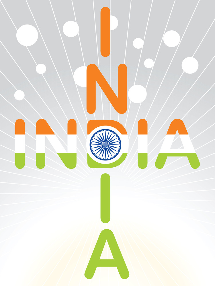 India In Three Flag Color Stylish Vector