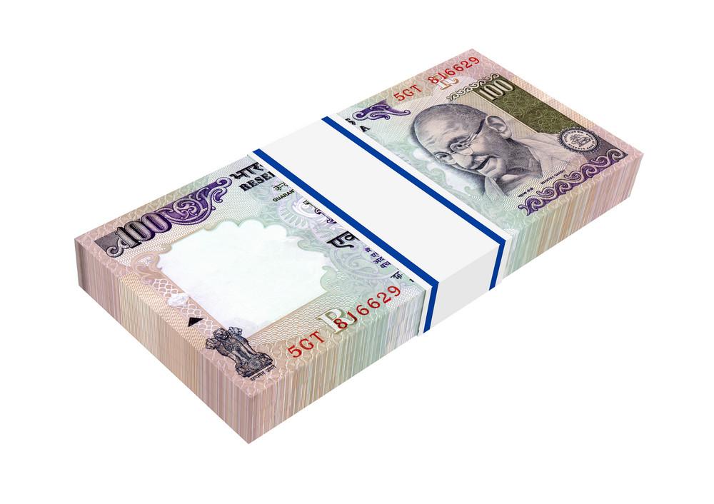 India Rupee Isolated On White Background.
