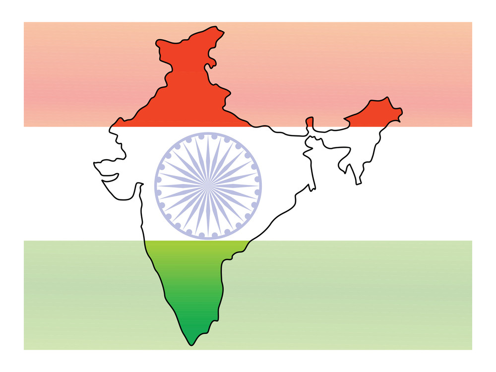 Indian Flag And Map Showing Freedom