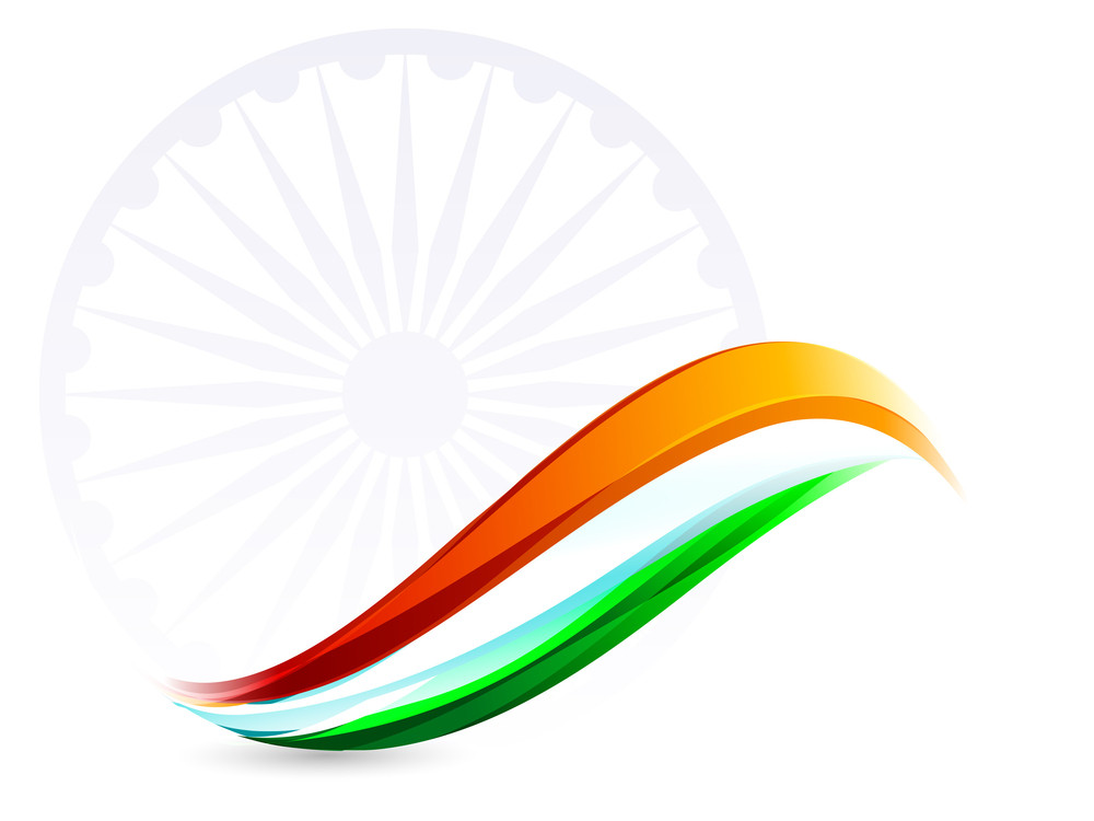 Indian Flag Background With Asoka Wheel On White Background.