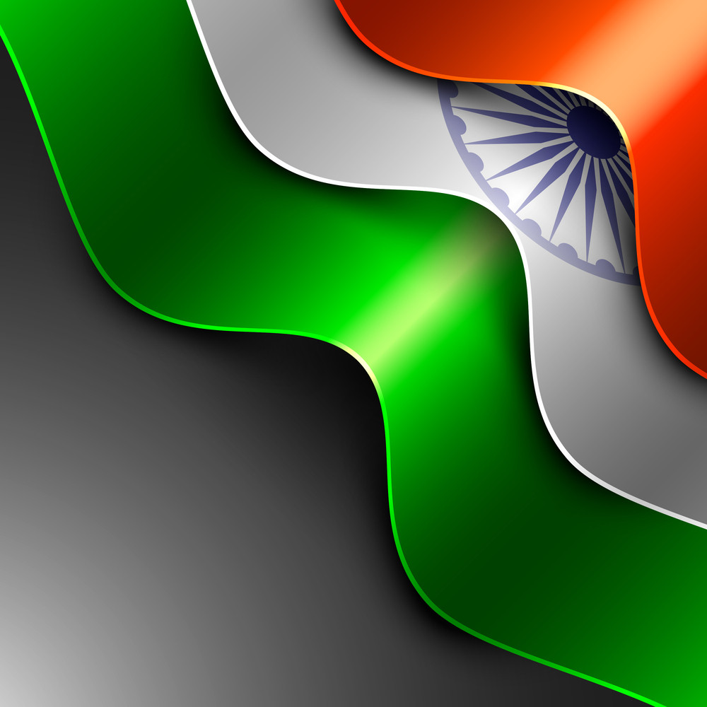 Indian Flag Background With Wave Pattern Isolated On Grey Background.