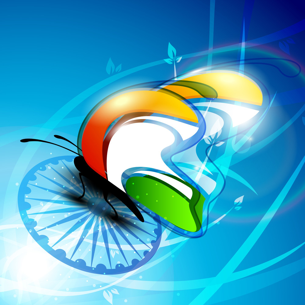 Indian Flag Butterfly On Shiny Asoka Wheel Background.