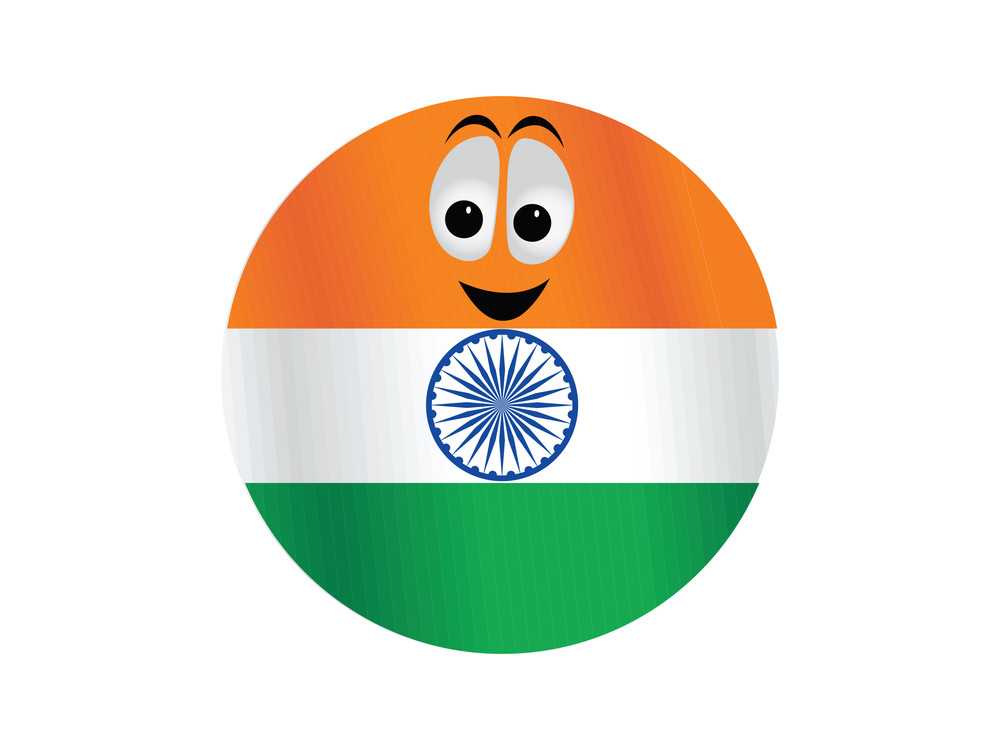 Indian Flag Color Button Illustration