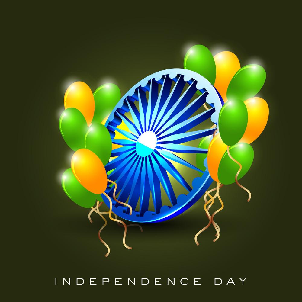 Indian Flag Color Concept With 3d Asoka Wheel And Balloon.