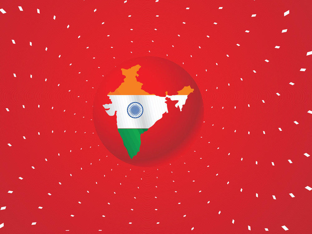 Indian Flag In Map Shape
