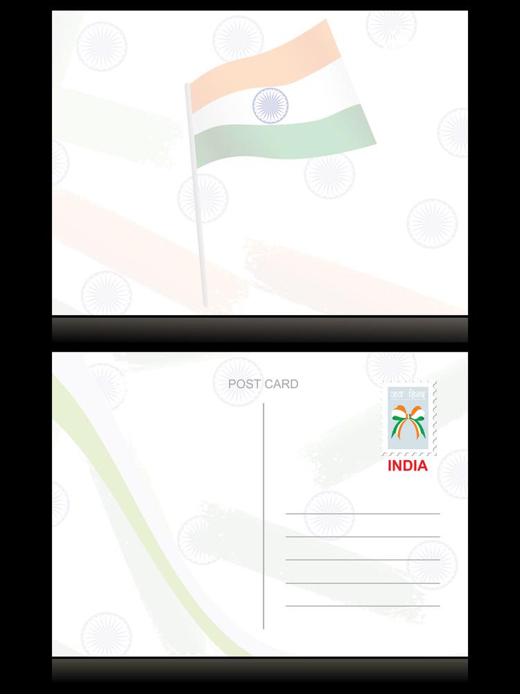 Indian Flag Pattern Postcard