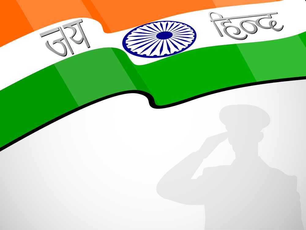 Indian Flag Waving Background With Silhouette Of Saluting Soldier.