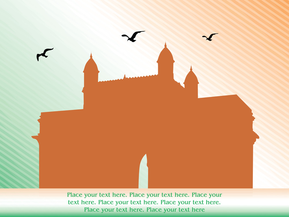 Indian Fort Gate And Flying Crow Against Indian Flag Background